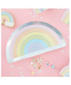 Pappteller Regenbogen - pastell