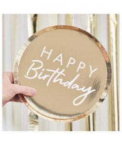 Papierteller Happy Birthday - gold