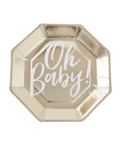Papierteller Oh Baby - gold