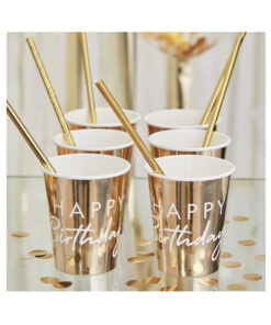 Pappbecher Happy Birthday - gold