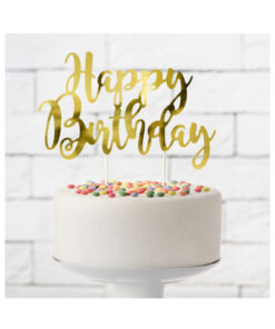 PartyDeco Cake Topper Happy Birthday, gold