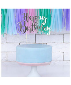 PartyDeco Cake Topper Happy Birthday, silber