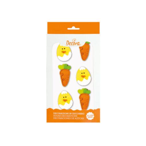 Zuckerdekor Küken und Karotten