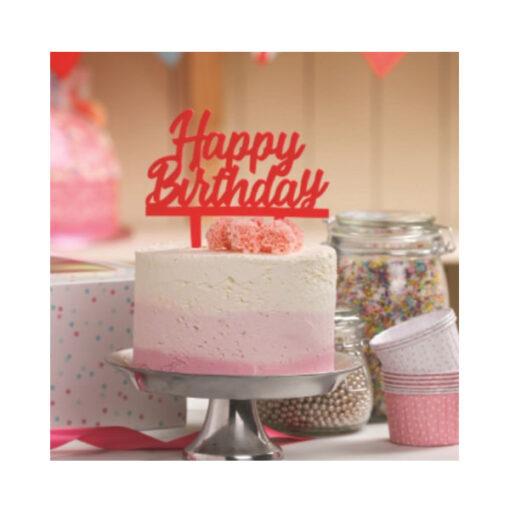 Cake Topper Happy Birthday, pink