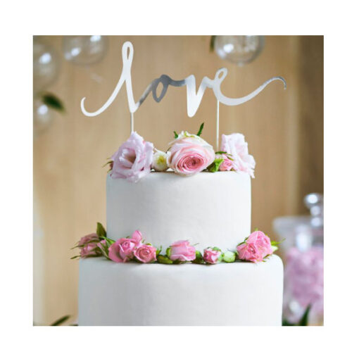 PartyDeco Cake Topper love silber