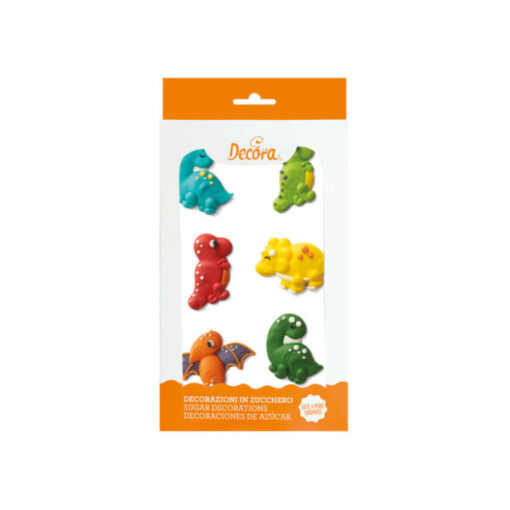 Zuckerdekor Dinosaurier, 6 Stück