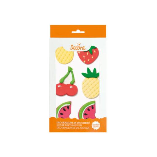Zuckerdekor Früchte, 6 Stück