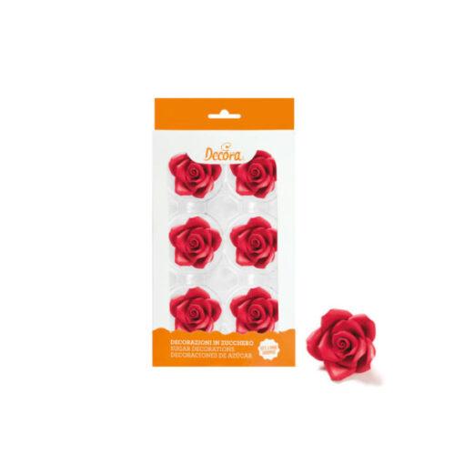 Zuckerdekor grosse Rosen, rot