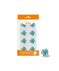 Zuckerdekor mittlere Rosen, blau