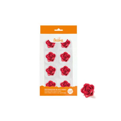 Zuckerdekor mittlere Rosen, rot