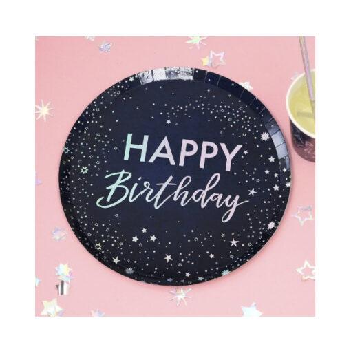 Pappteller - Happy Birthday dunkelblau
