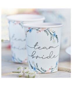 Pappbecher Team Bride - Blumen