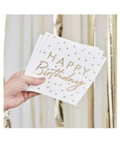 Servietten Happy Birthday - weiss und gold