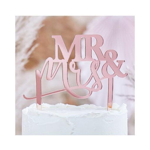 Cake Topper Mr & Mrs rosé gold
